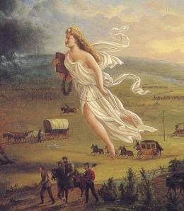 "Detail from ""Spirit of the Frontier,"" by John Gast, 1872"